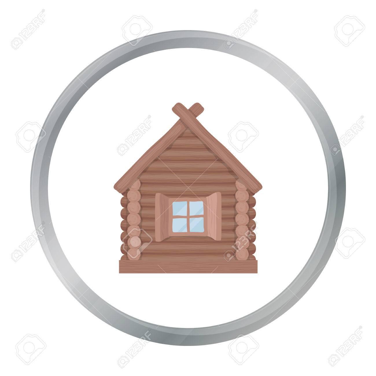 Icono De Casa De Madera En Estilo De Dibujos Animados Aislado Sobre