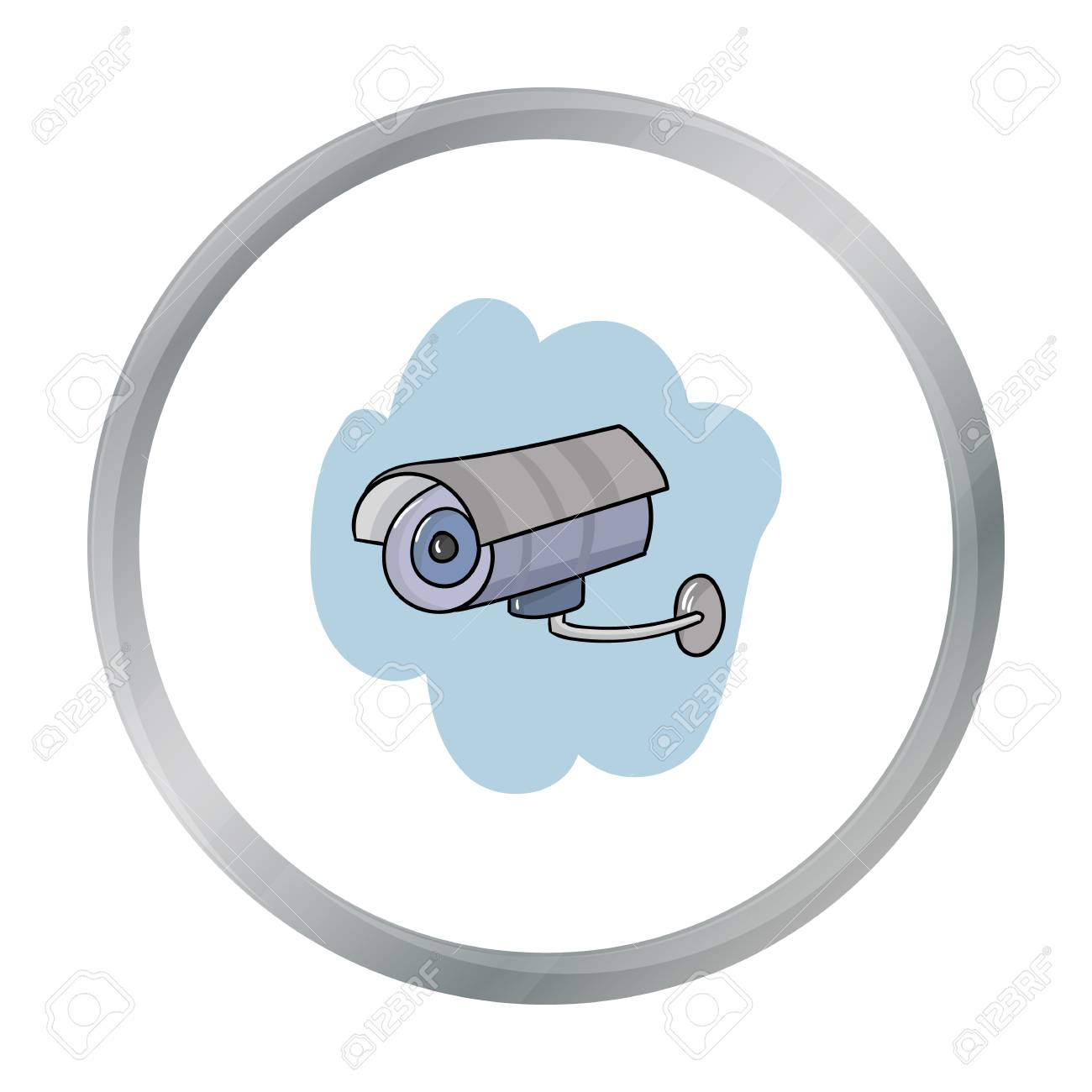 Security Camera Icon In Cartoon Style Isolated On White Background