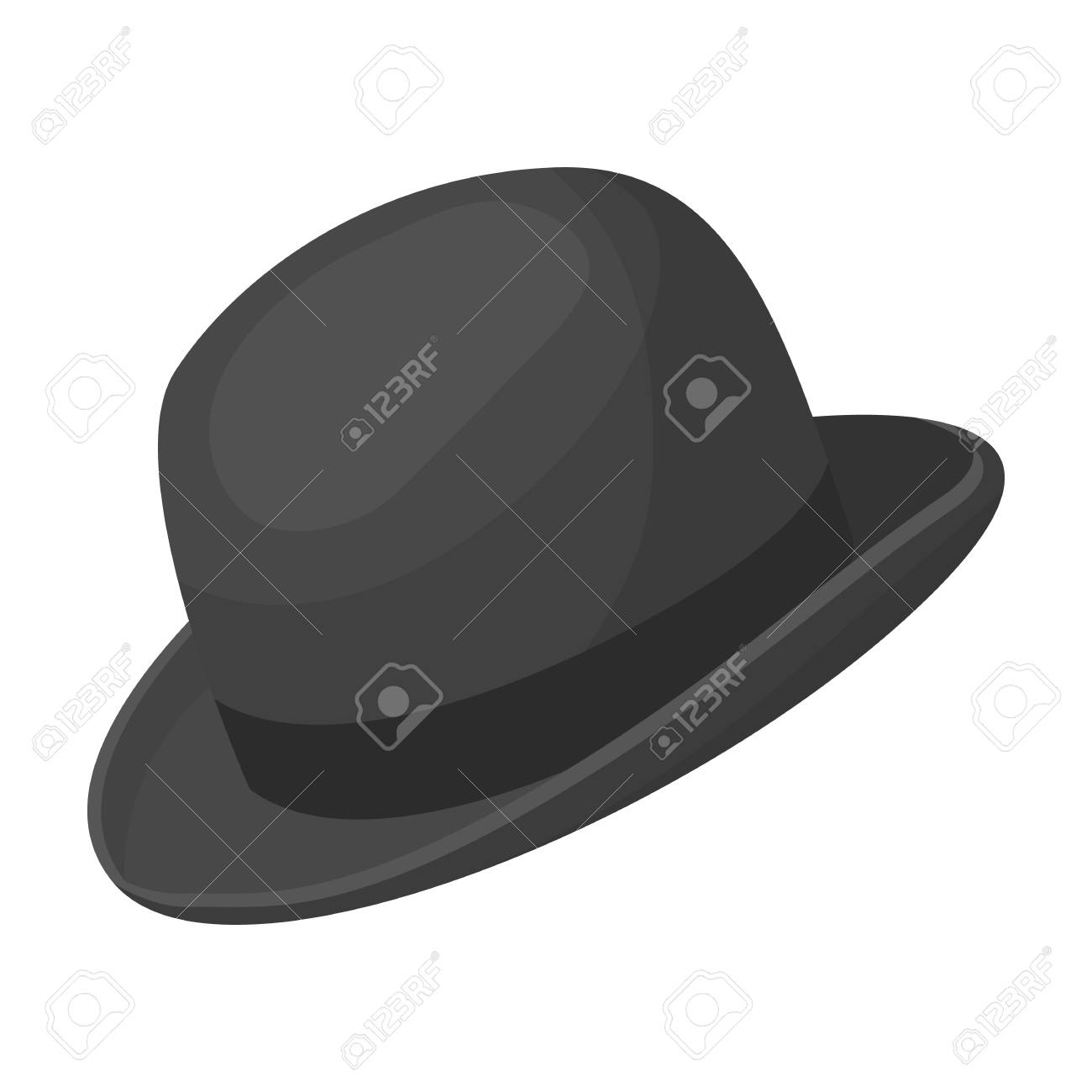 Bowler Hat Icon In Monochrome Style Isolated On White Background