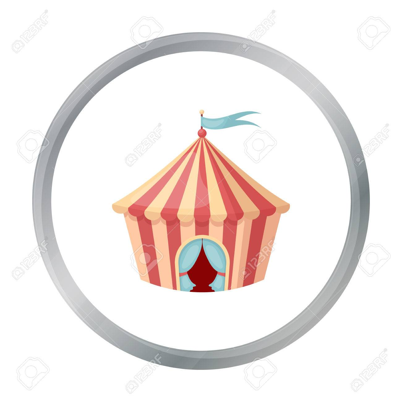 Circus tent icon in cartoon style isolated on white background. Circus symbol stock vector illustration  sc 1 st  123RF Stock Photos & Circus Tent Icon In Cartoon Style Isolated On White Background ...