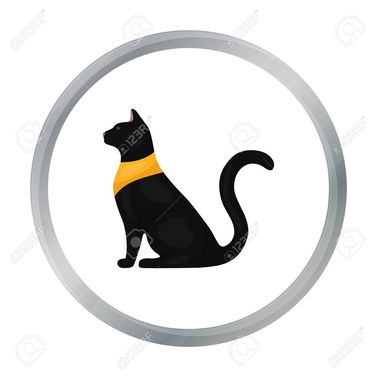 Cat Goddess Bastet Icon In Cartoon Style Isolated On White