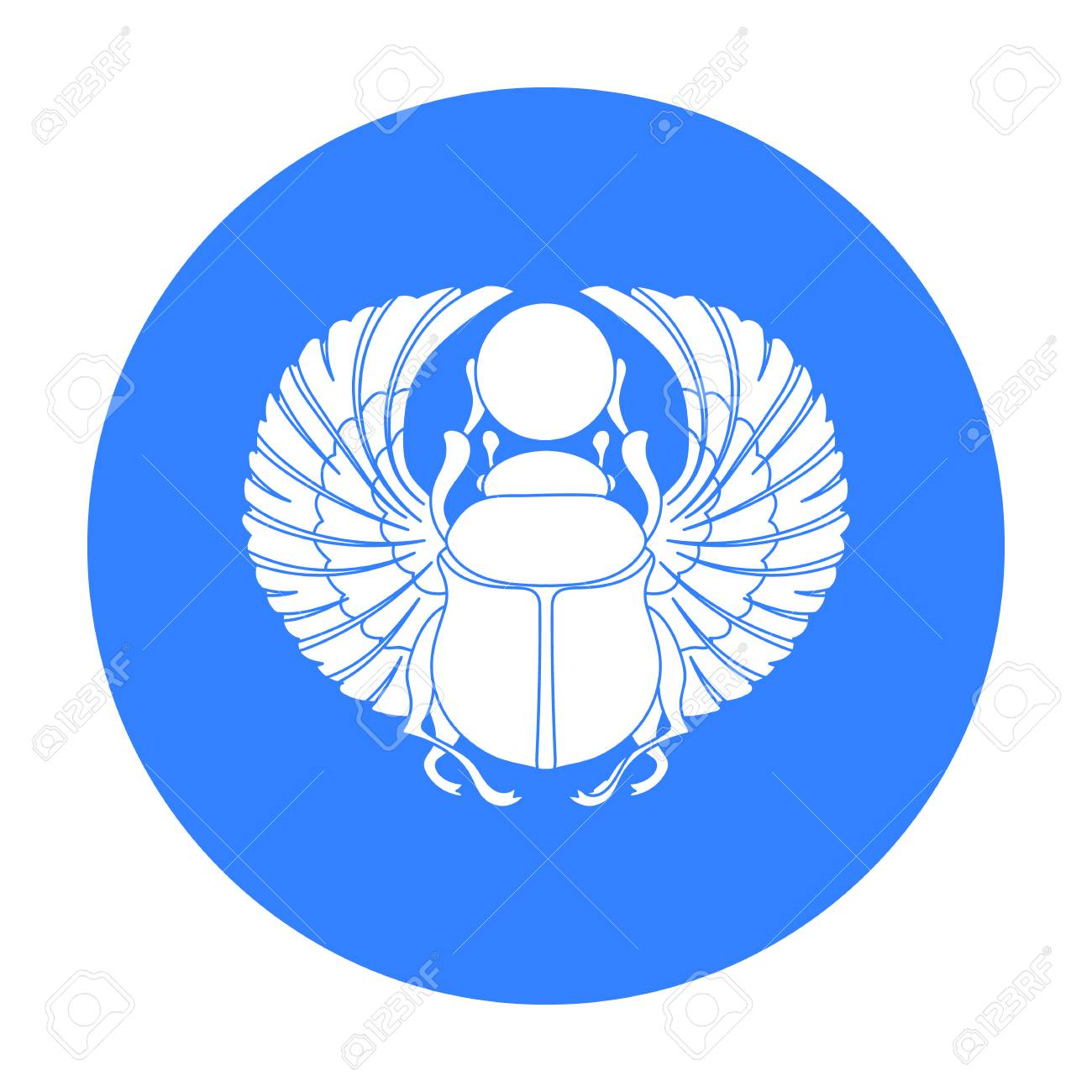 Scarab Icon In Black Style Isolated On White Background Ancient