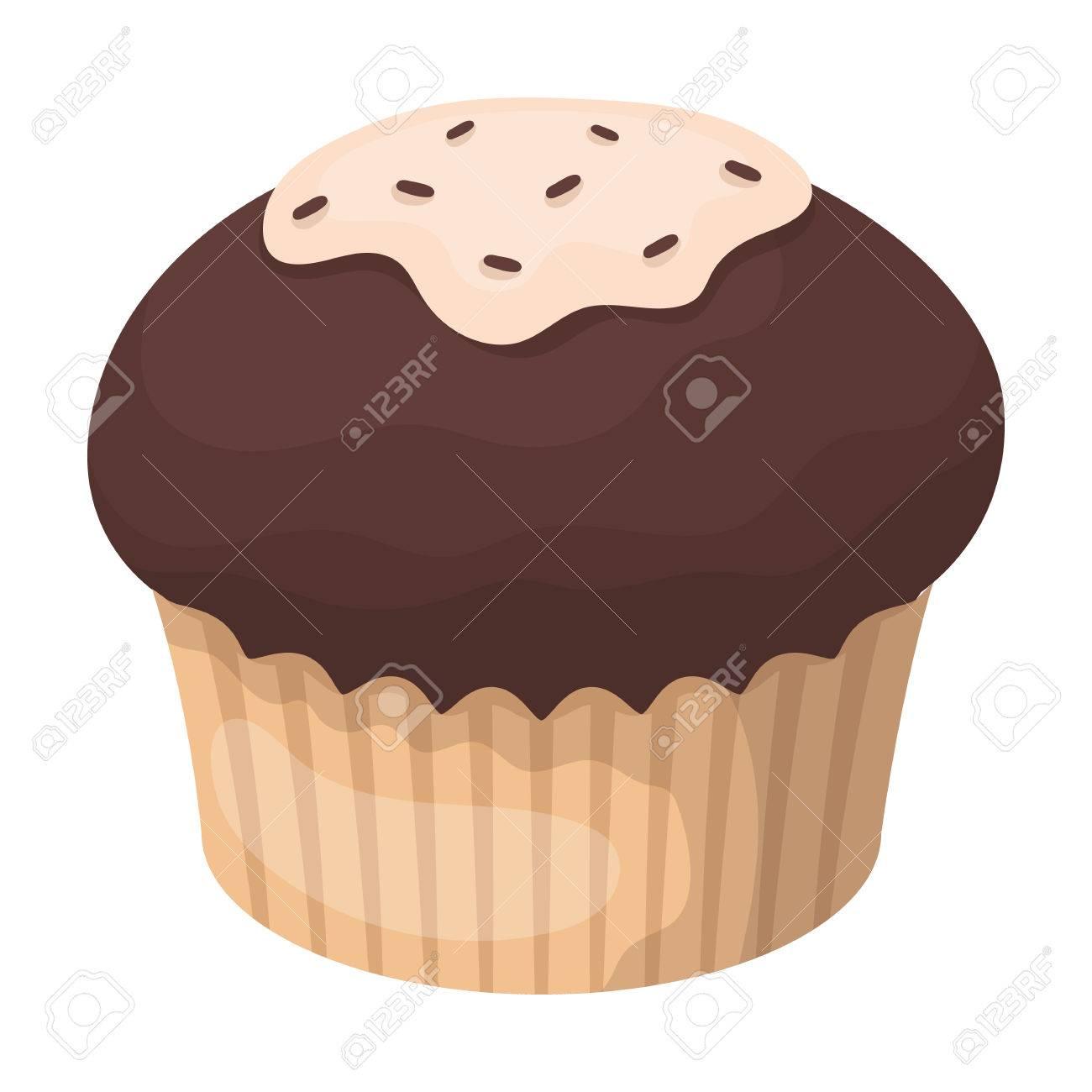 Icono De Cupcake De Chocolate En Estilo De Dibujos Animados Aislado