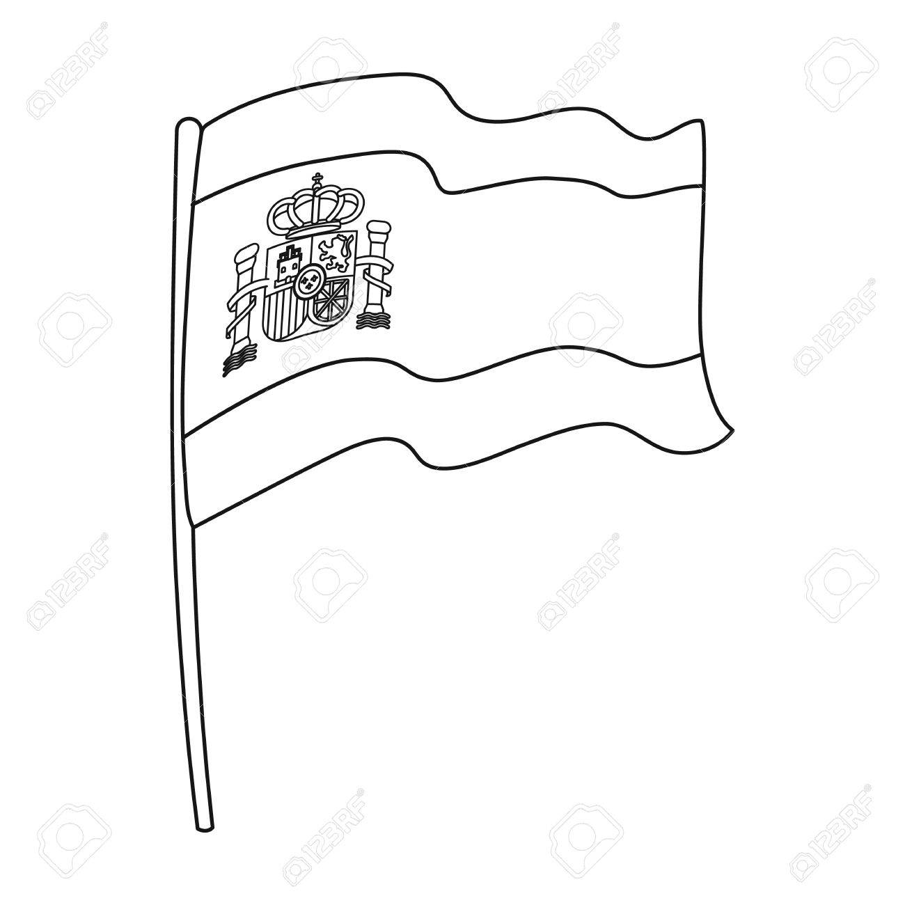 flag of spain icon in outline style isolated on white background USA Country Outline flag of spain icon in outline style isolated on white background spain country symbol stock