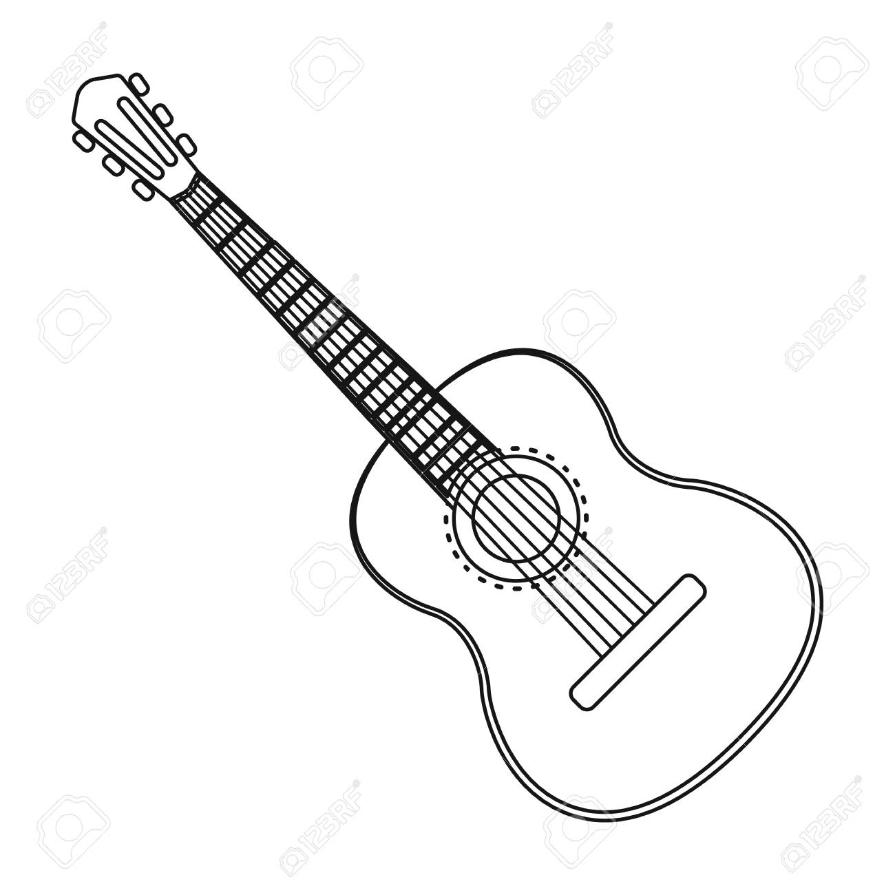 spanish acoustic guitar icon in outline style isolated on white Spain Country Roses spanish acoustic guitar icon in outline style isolated on white background spain country symbol stock