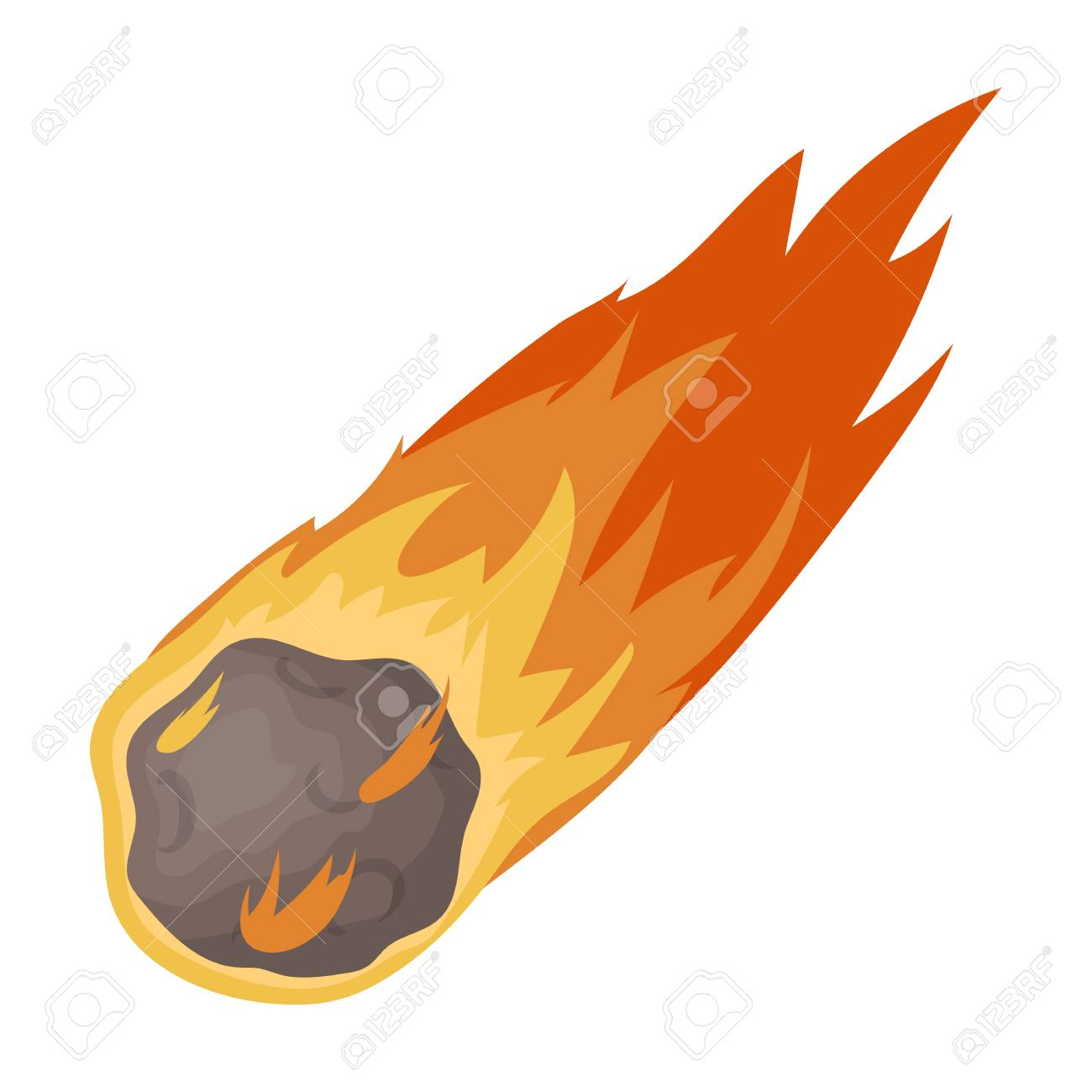 Flame meteorite icon in cartoon style isolated on white background. Dinosaurs and prehistoric symbol stock vector illustration. - 70913366