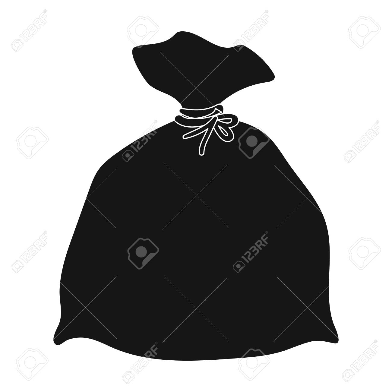 Garbage bag icon in black style isolated on white background. Cleaning symbol stock vector illustration. - 71416481
