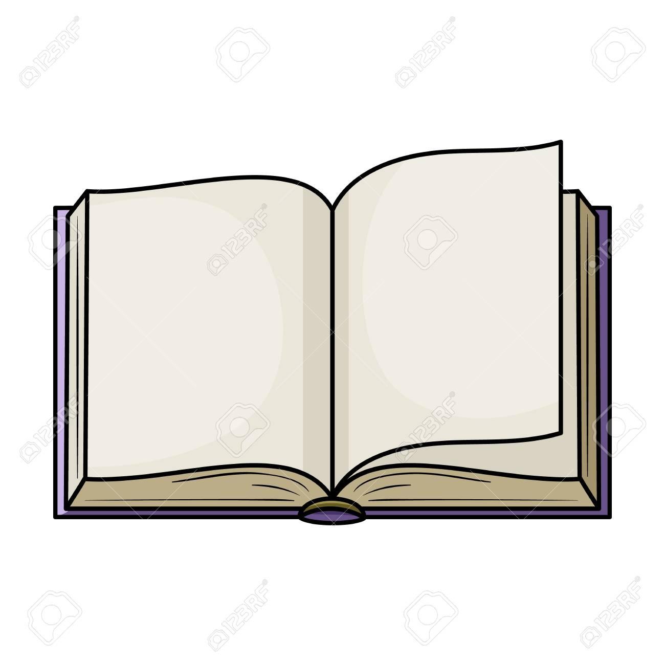 Icono De Libro Abierto En Estilo De Dibujos Animados Aislado Sobre