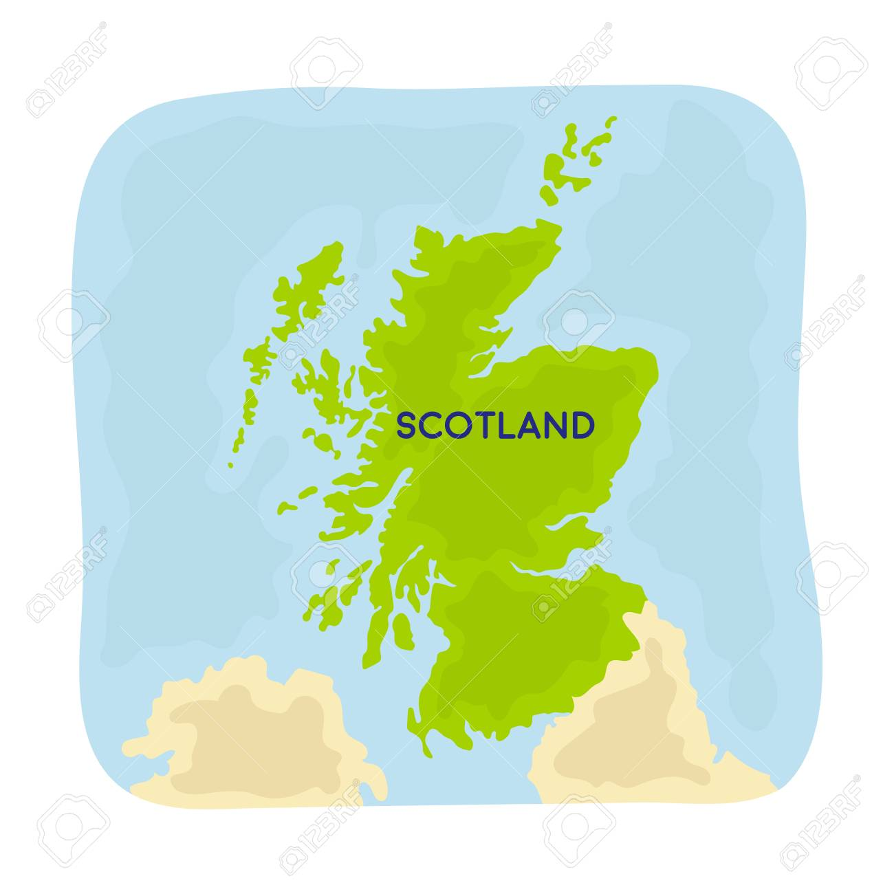 Territory Of Scotland Symbol In Cartoon Stil Auf Weiem Hintergrund