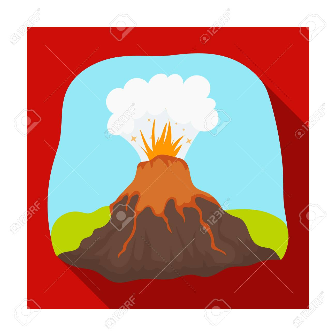 volcano eruption icon in flat style isolated on white background rh 123rf com basin landform clipart delta landform clipart