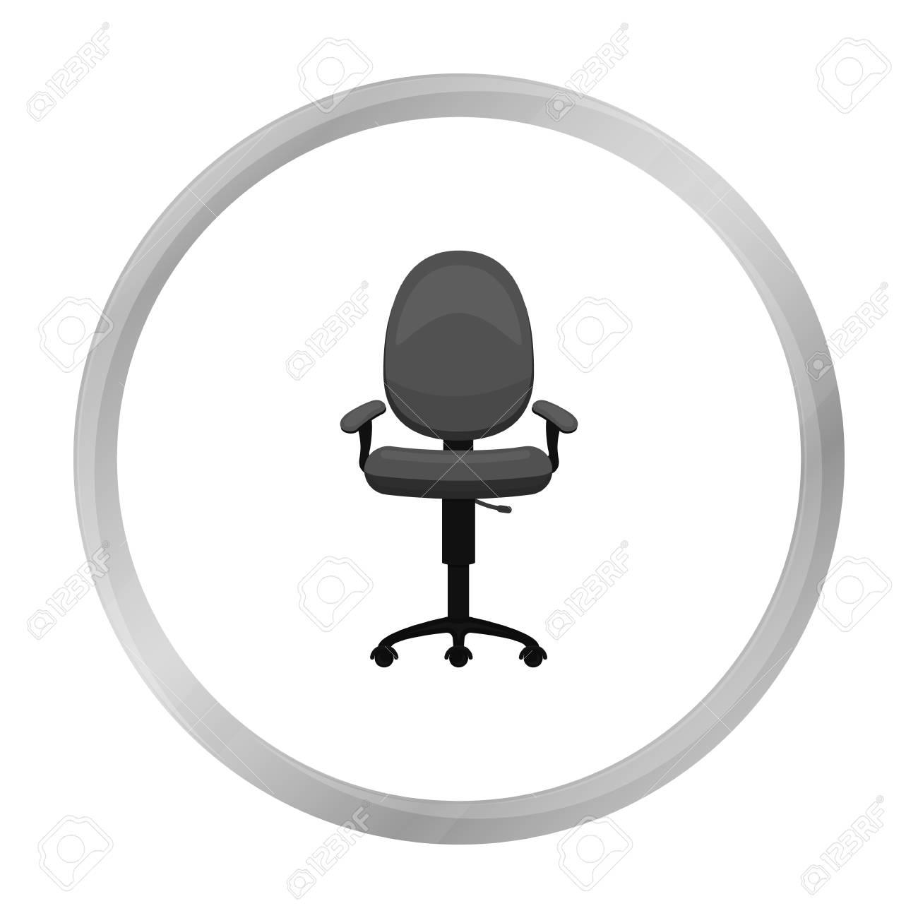 Burostuhl Symbol In Schwarz Weiss Stil Auf Weissem Hintergrund