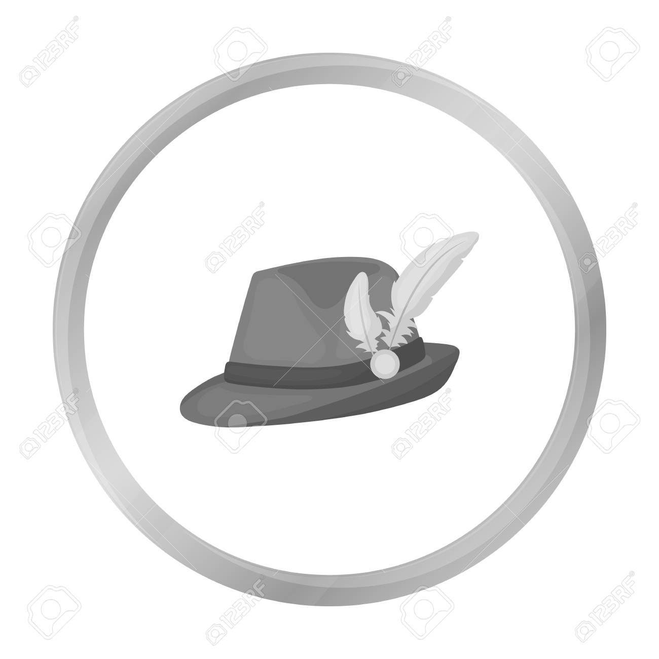 Tyrolean Hat Icon In Monochrome Style Isolated On White Background