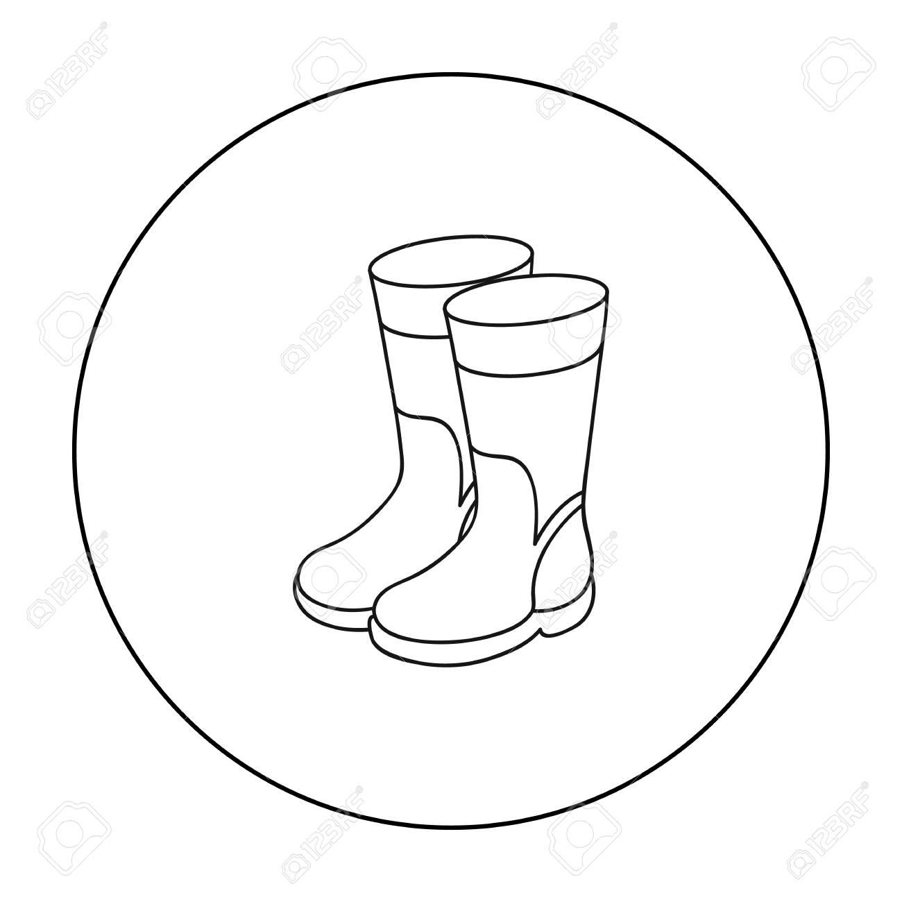 Icono de botas de goma en estilo de contorno aislado sobre fondo blanco. Ilustración de vector stock de símbolo de pesca.