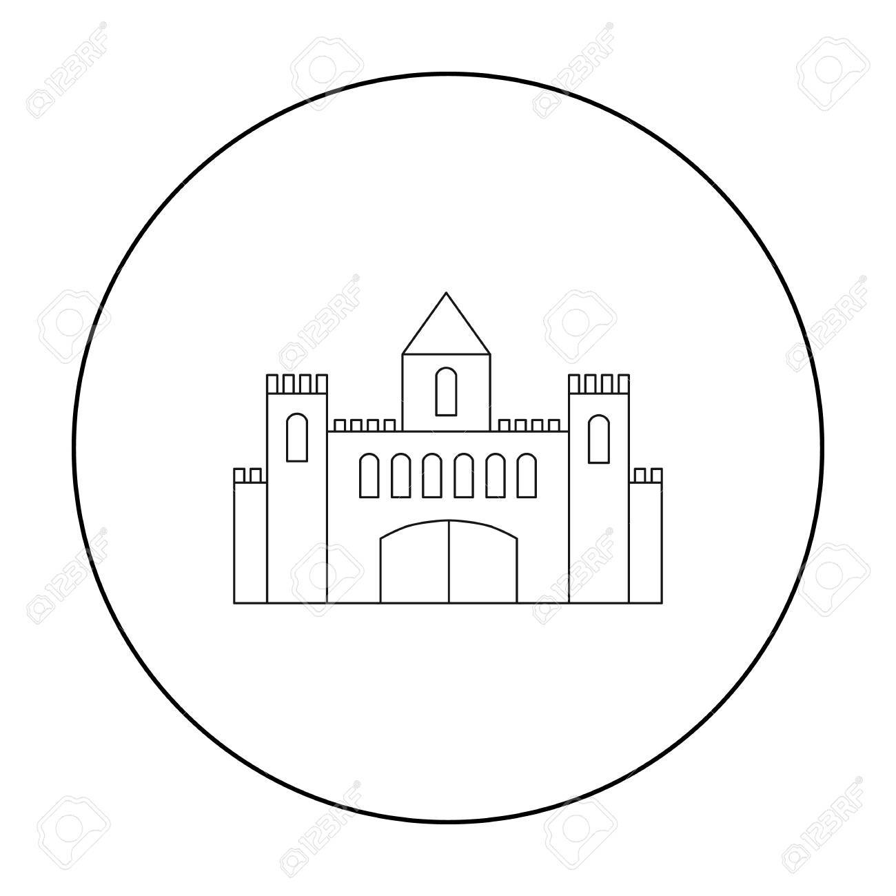 Castle Icon Outline Single Building From The Big City Infrastructure Stock Vector