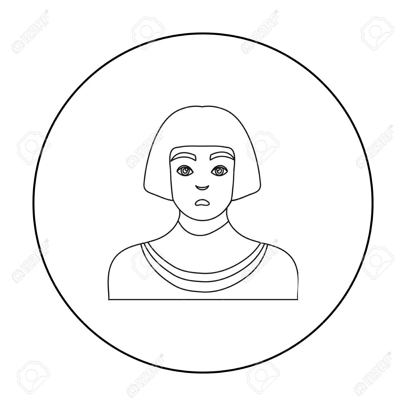 Egyptian Man Icon In Outline Style Isolated On White Background