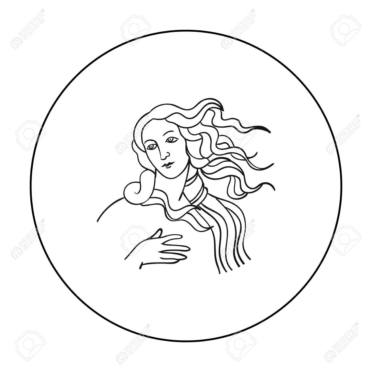 Italian Goddess Of Love Icon In Outline Style Isolated On White