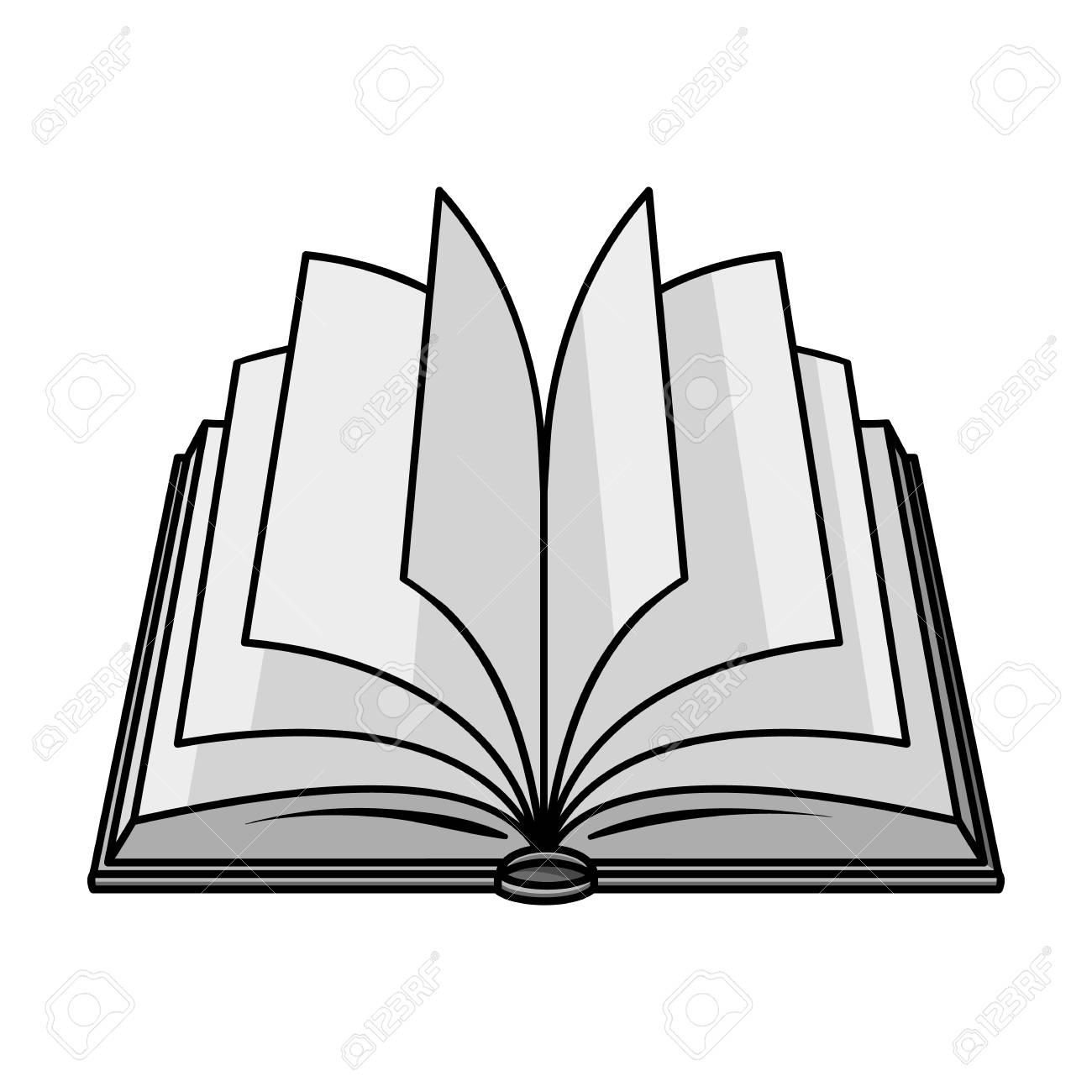 Icone De Livre Ouvert Dans Le Style Monochrome Isole Sur Fond Blanc Livres Symbole Illustration Vectorielle Stock
