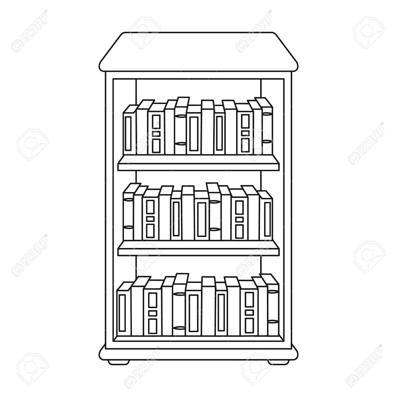 Bookcase With Books Icon In Outline Style Isolated On White ...