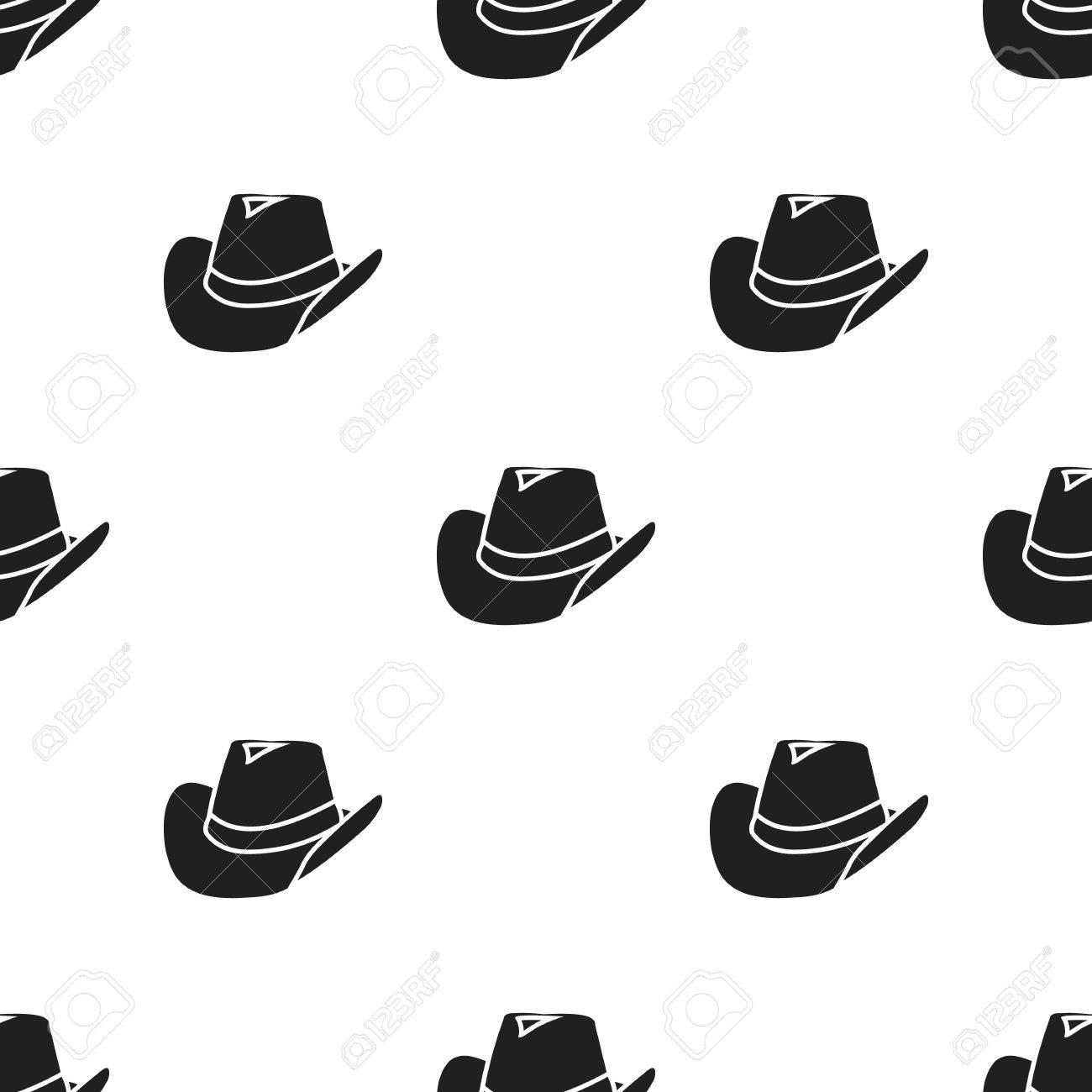 Foto de archivo - Icono de sombrero de vaquero en estilo negro aislado  sobre fondo blanco. Wlid patrón occidental stock ilustración vectorial. 2daac74ba90
