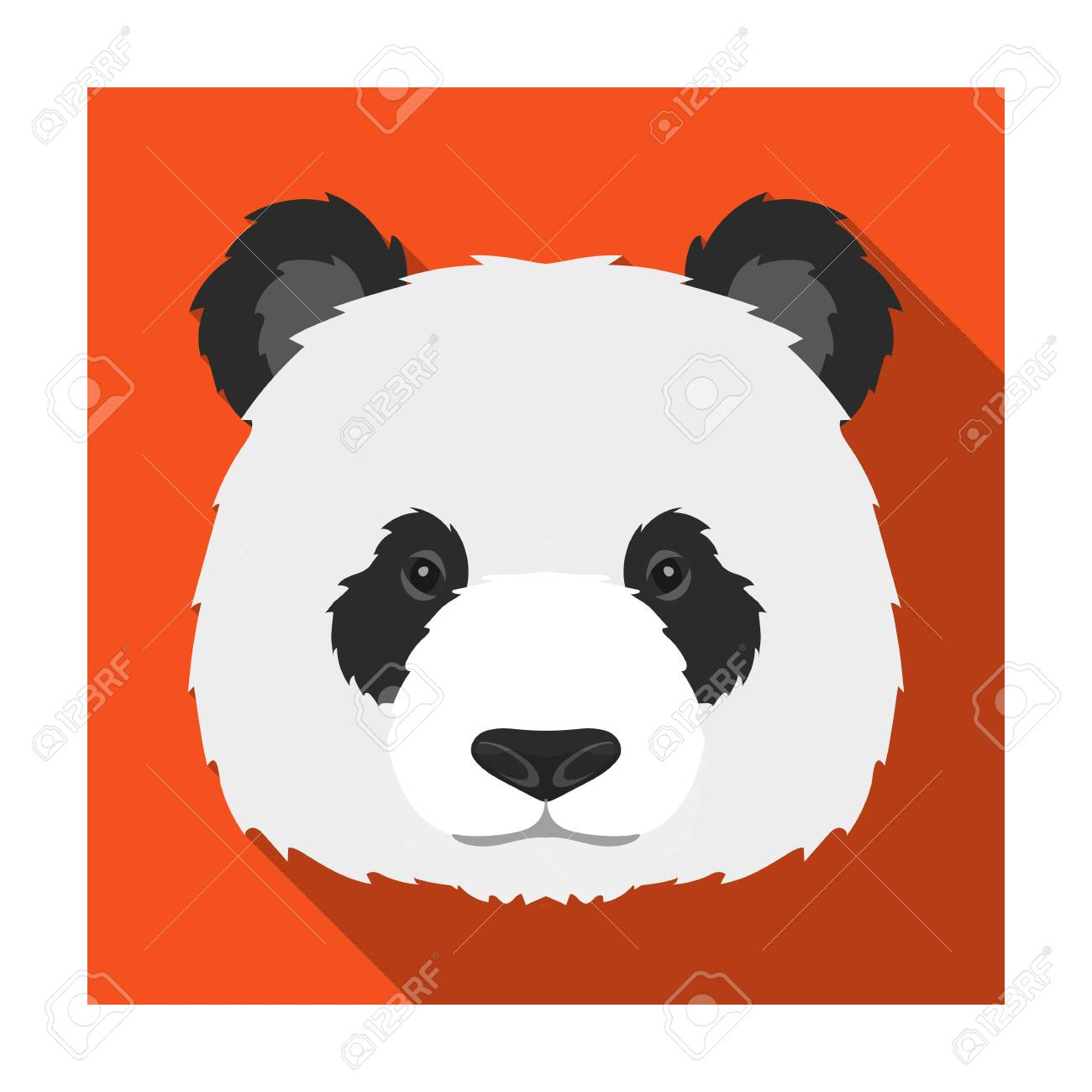 パンダ アイコンを白い背景に分離したフラットなデザイン。リアルな動物