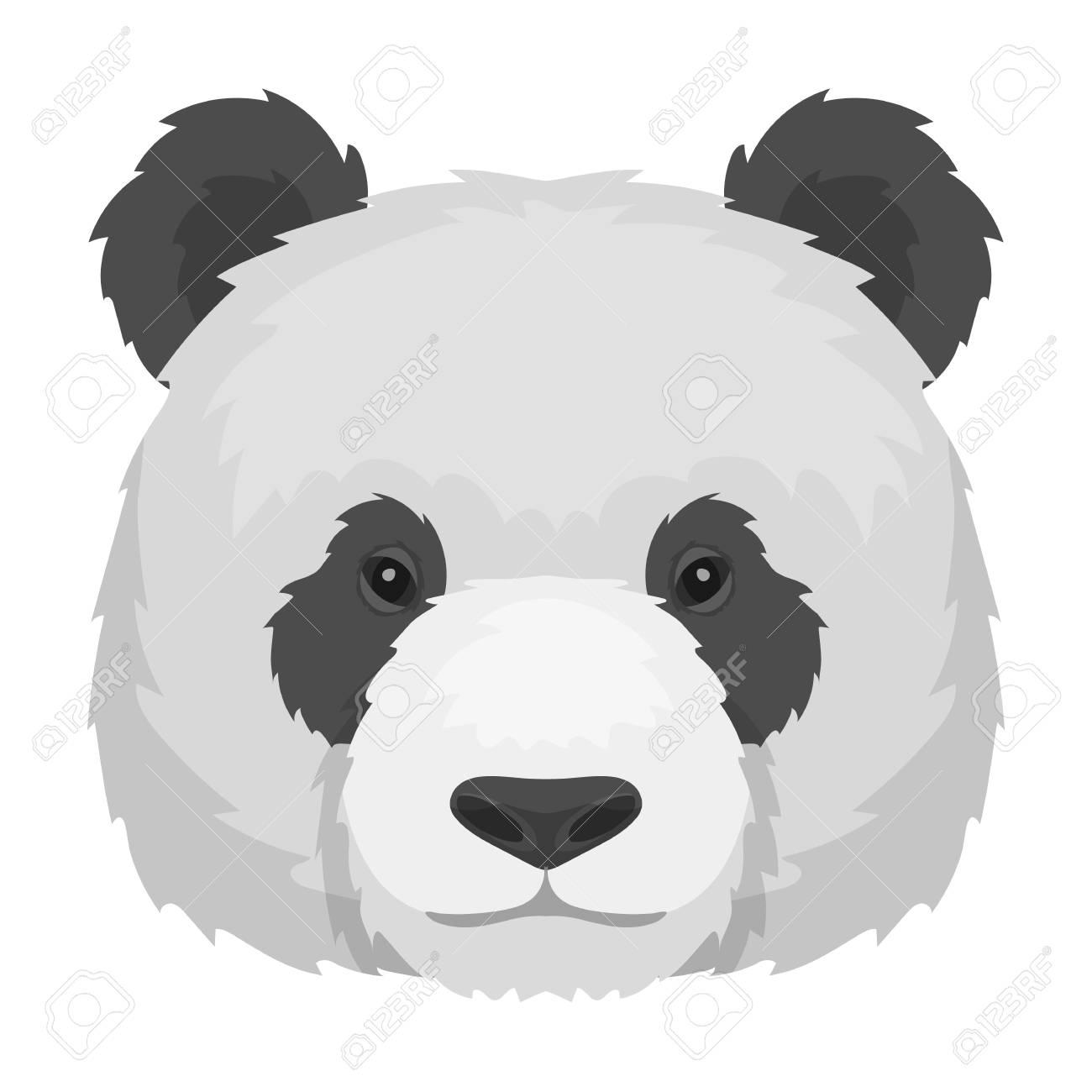 モノクロ デザインの白い背景で隔離のパンダ アイコン。リアルな動物