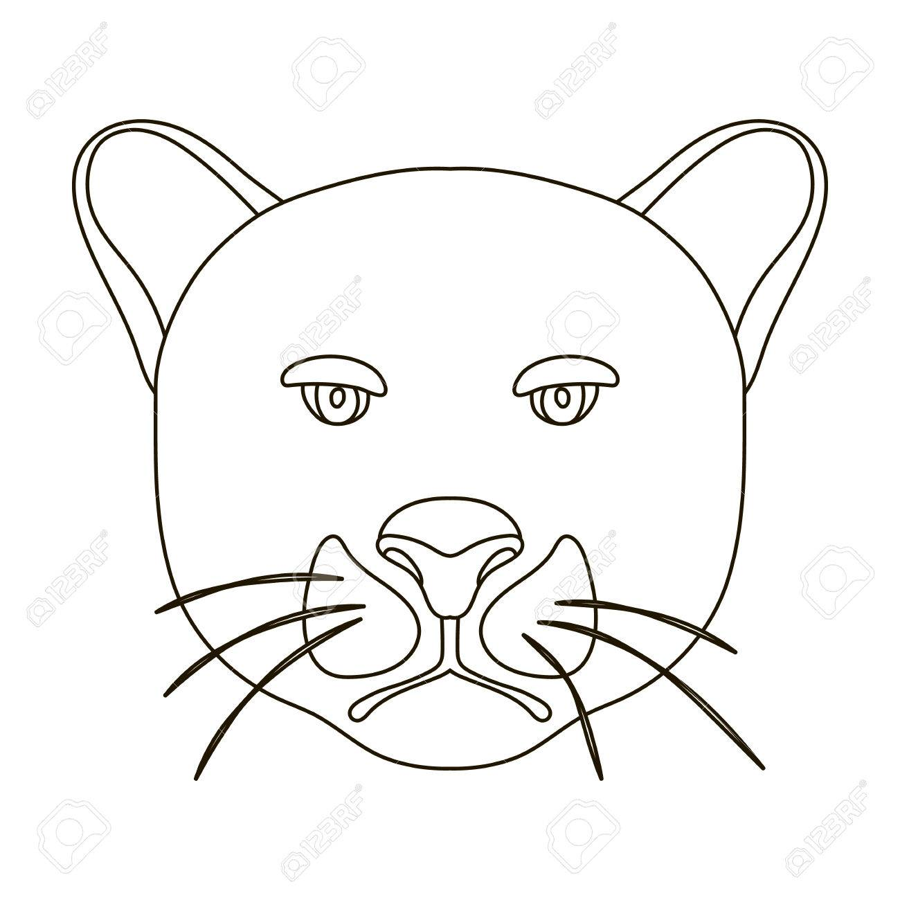 Black panther icon in outline style isolated on white background realistic animals symbol stock vector