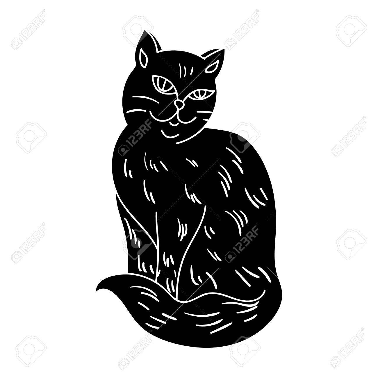 Nebelung Icon In Black Style Isolated On White Background Cat