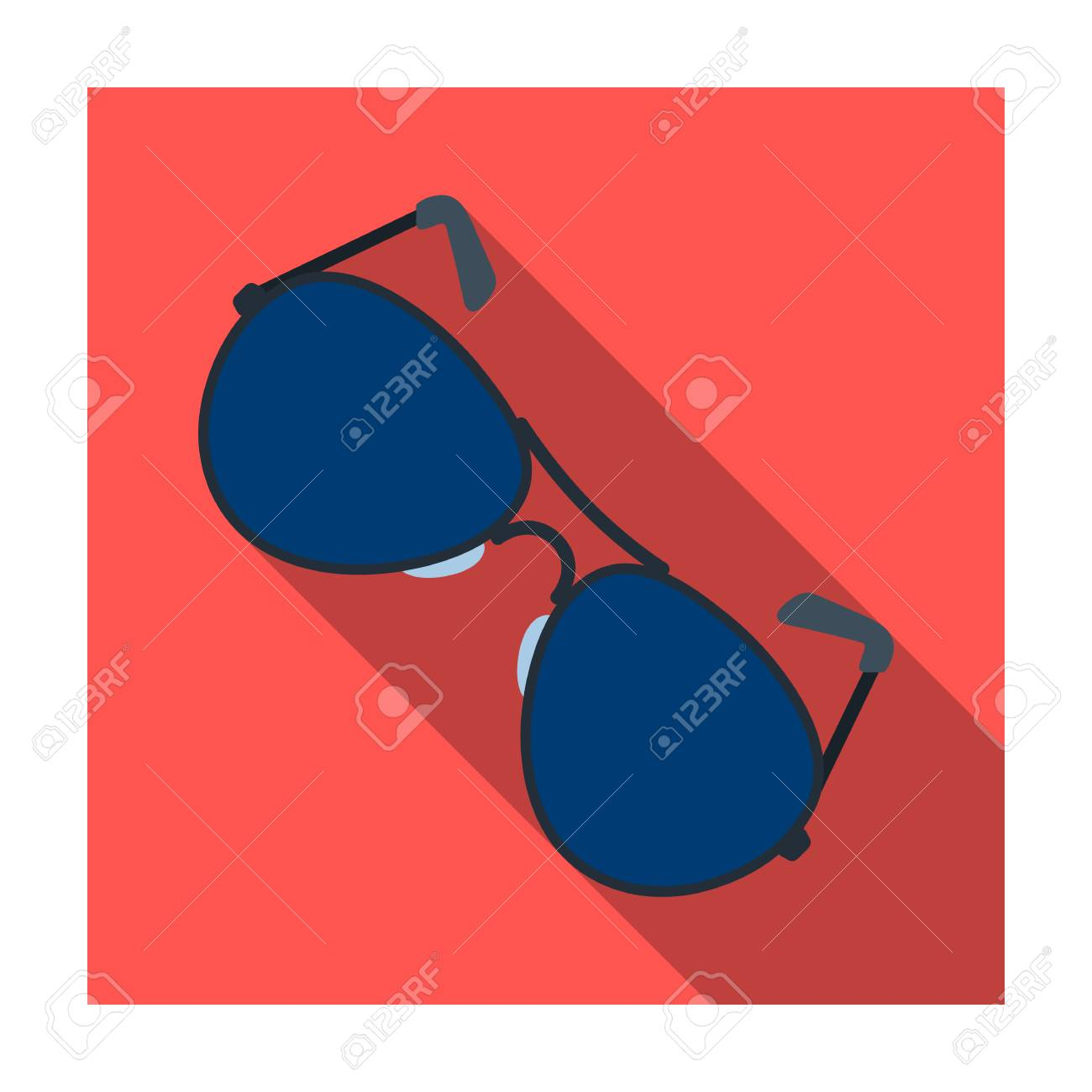 7aec780be7886 Aviator sunglasses icon in flat style isolated on white background. Police  symbol stock vector illustration