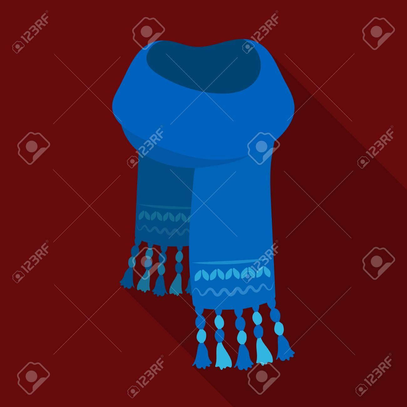 Tienda online precio justo los recién llegados Bufanda de fieltro azul con patrones hermosos. Cartas y chales único icono  en estilo de vector plano símbolo stock photo.