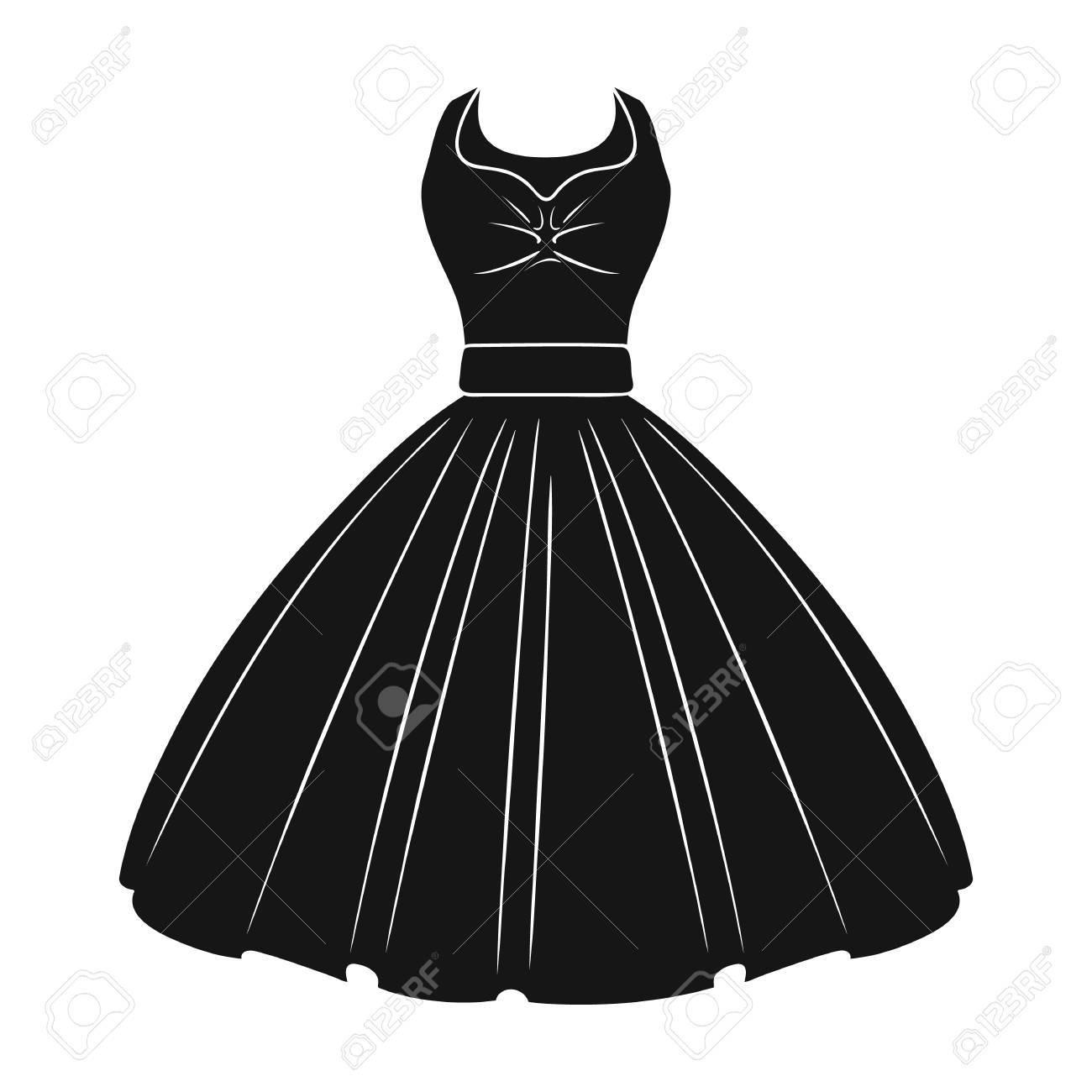 女の子のふわふわの白いウェディング ドレス。結婚式の摩耗。女性の服の黒のスタイルで 1 つのアイコン ベクトル シンボル ストック イラストです。