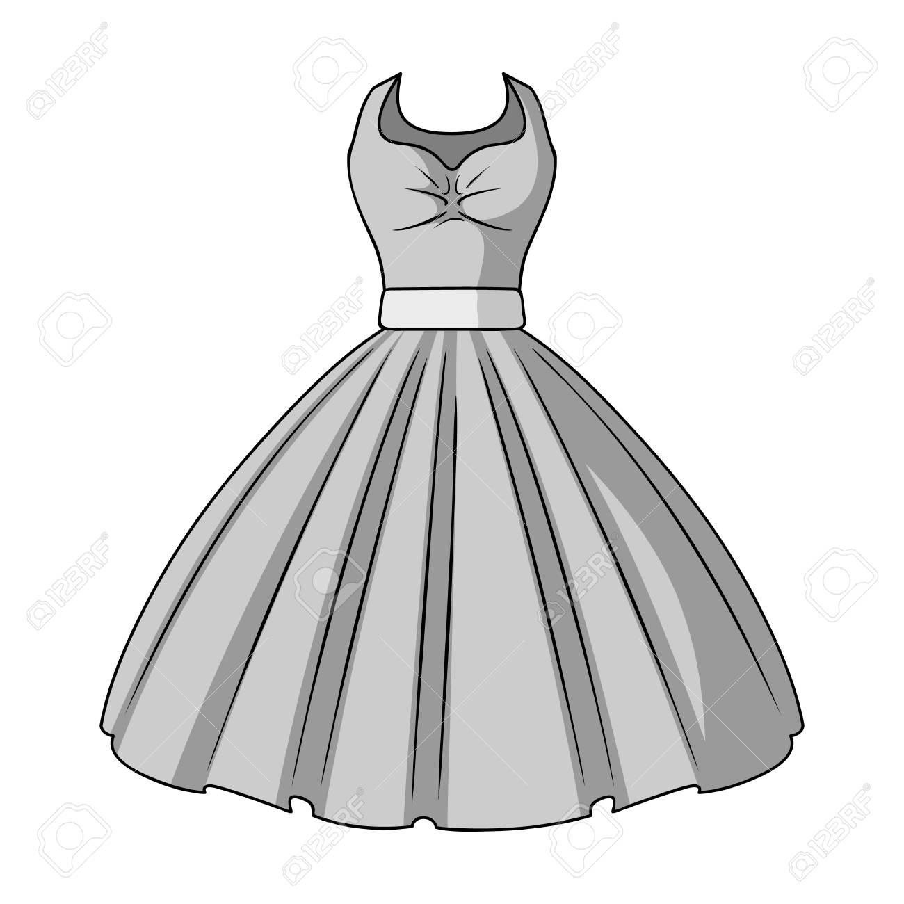 女の子のふわふわの白いウェディング ドレス。結婚式の摩耗。女性の服のモノクロ スタイルで 1 つのアイコン ベクトル シンボル ストック イラストです。