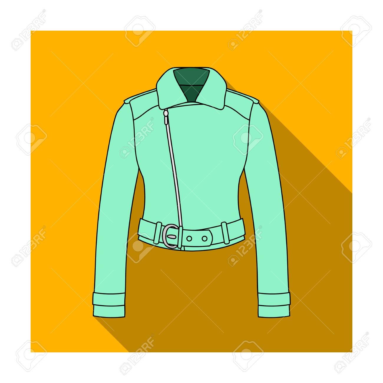 online retailer 722f1 ab95b Giacche di cuoio corte verdi della gioventù per le donne sicure Icona  dell'abbigliamento delle donne singola nell'illustrazione piana delle  azione di ...