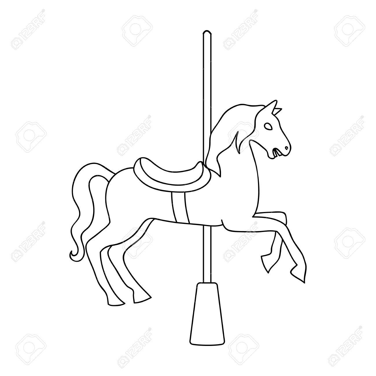 Carousel For Children Horse On The Pole For Riding Amusement Royalty Free Cliparts Vectors And Stock Illustration Image 74047104