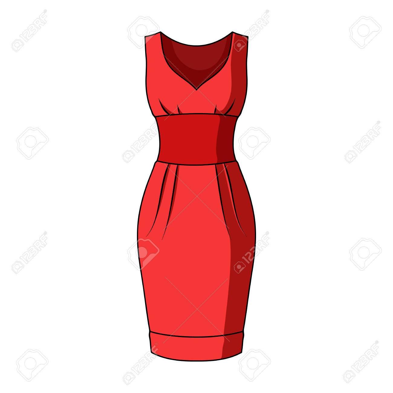 be33b5d8097 Longue Robe De Soirée Rouge Pour Une Randonnée Au Théâtre. Robe Sans  Manches De Femmes. Femmes Vêtements Unique Icône En Illustration  Vectorielle De Stock ...