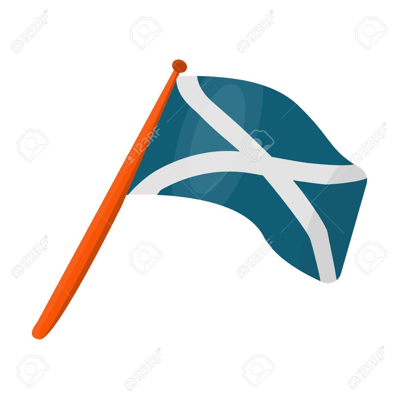 Scotland Flag On A Wooden Stick The Scottish National Flag Scotland