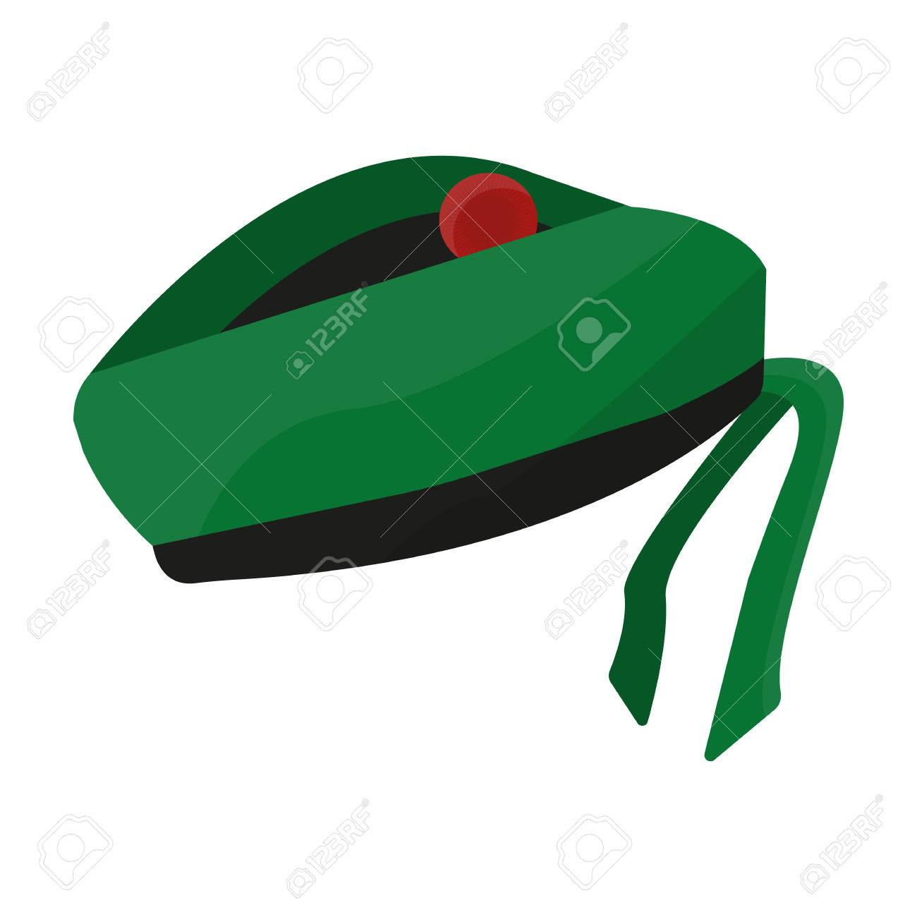 542d675f1f4cb Scottish National traditional cap or beret with bubo and green checkered  pattern in red colors.