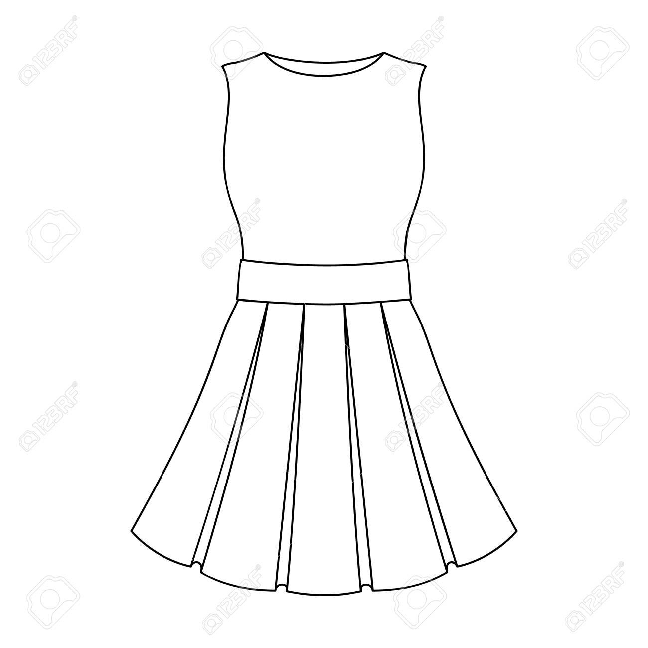 schöne hellrosa sommerkleid ohne Ärmel. kleidung für eine wanderung zum  beach.women kleidung einzelnen symbol im umriss-stil vektor-symbol stock
