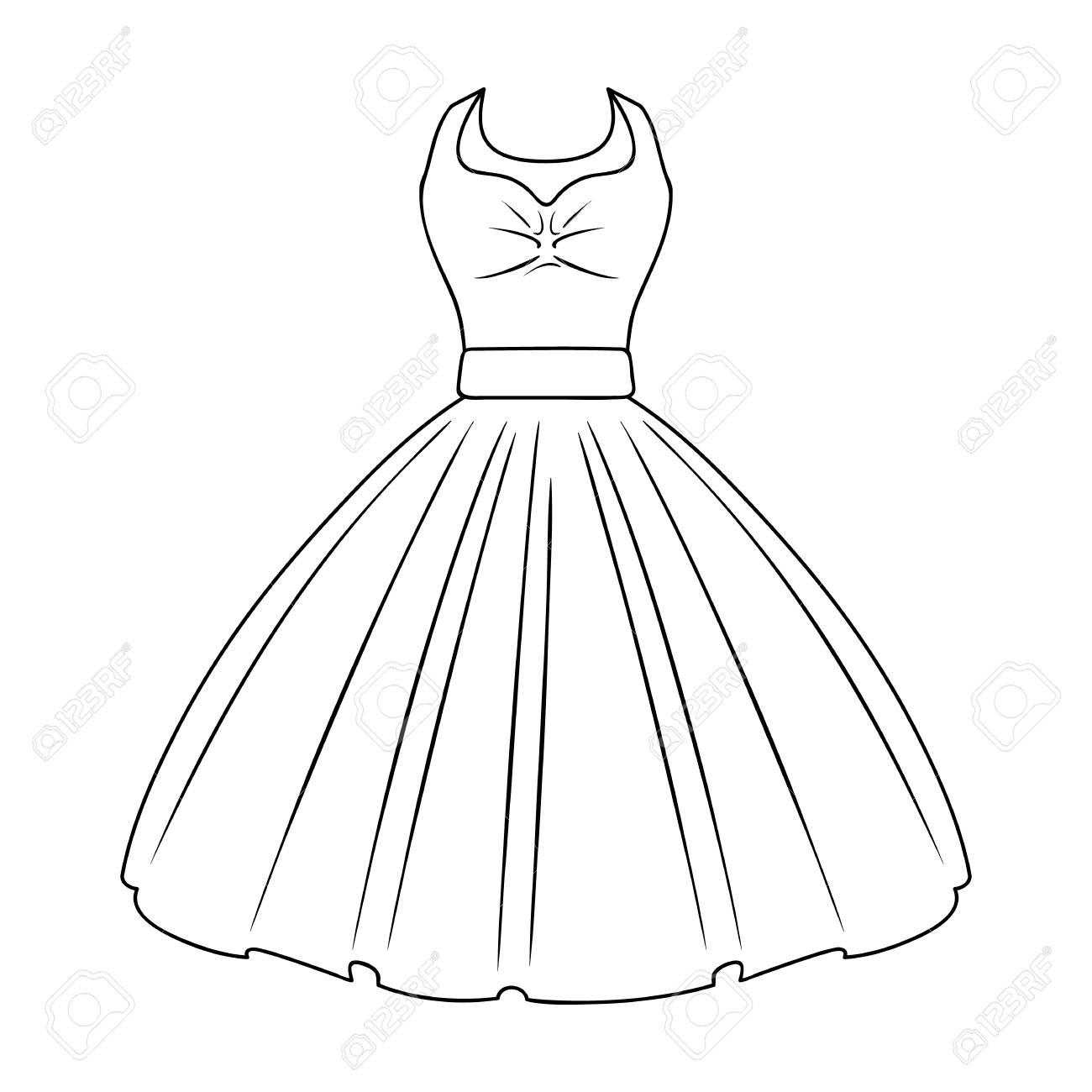 女の子のふわふわの白いウェディング ドレス。結婚式の摩耗。女性の服のアウトライン スタイルのベクトル記号の 1 つのアイコン ストック イラスト。