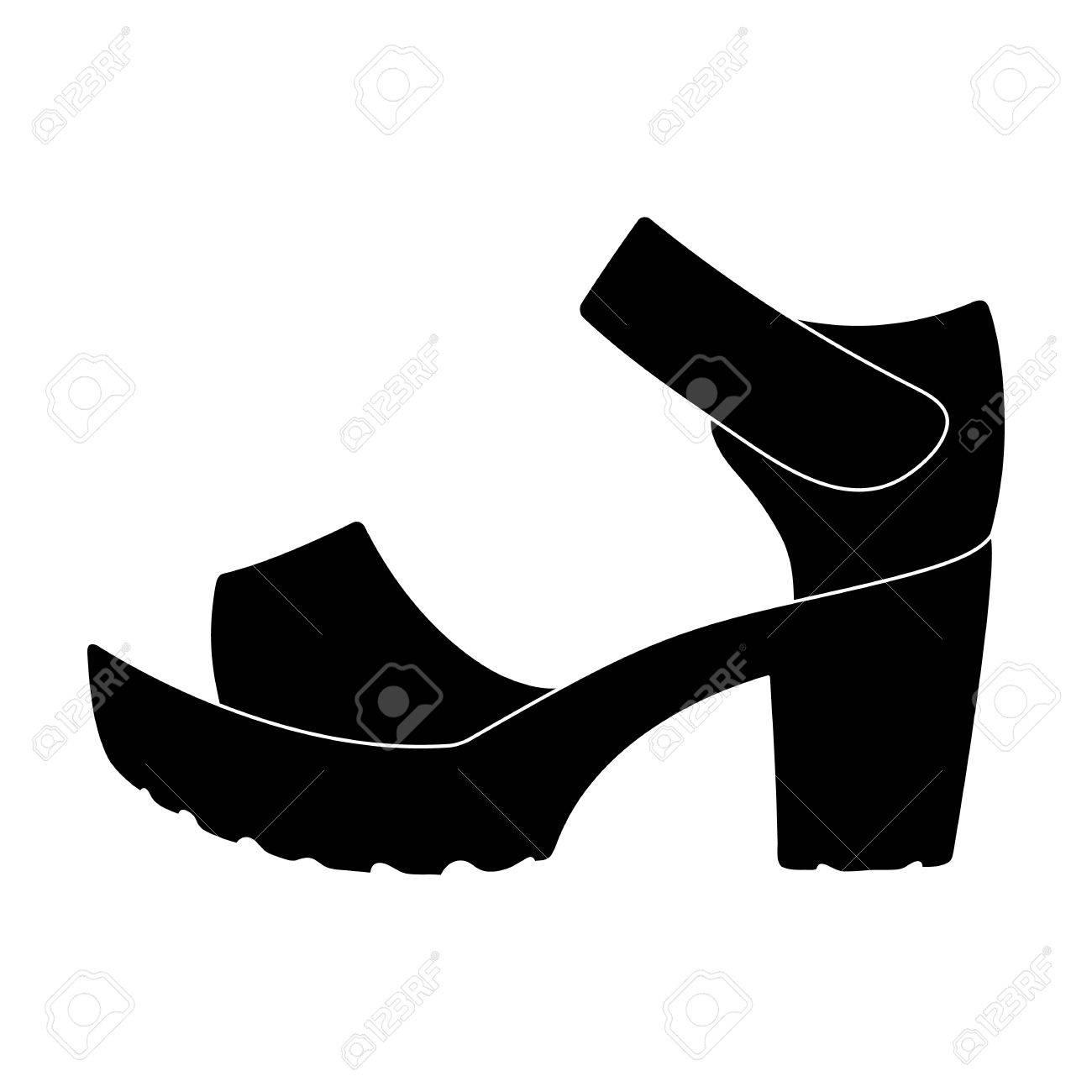 Frauen Sommer weiße Sandalen auf nackten Fuß. Verschiedene Schuhe einzelnes  Symbol im schwarzen Stil Symbol acaf7f7520