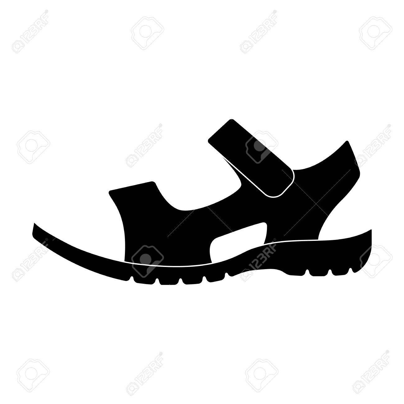 Männer Sommer braun Ledersandalen auf nackten Fuß. Verschiedene Schuhe  einzelnes Symbol im schwarzen Stil Symbol 37a3bcbf42