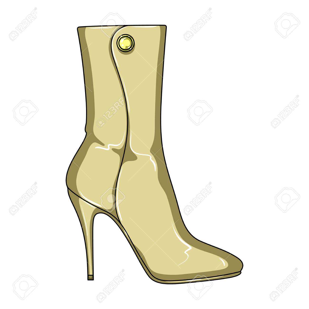 0e3239621dc Demi tall womens boots high heel.Different shoes single icon in cartoon  style vector symbol