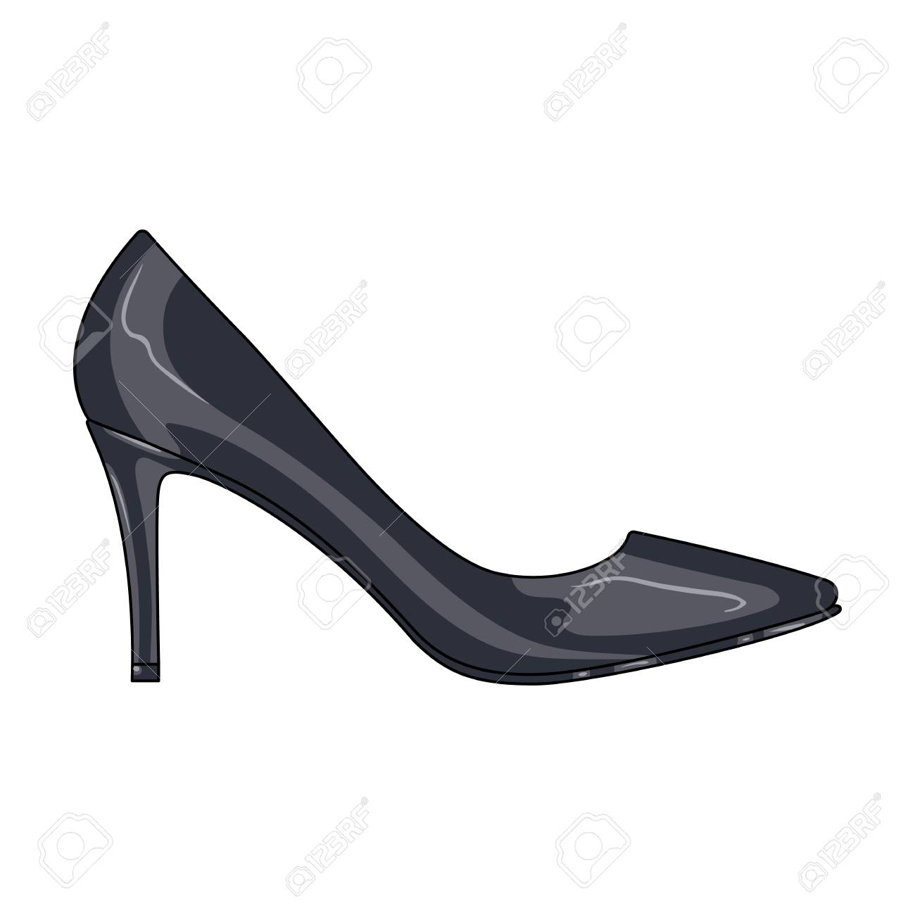 4a8cfadc8452 Black women s high heel shoes exit in a dress. Different shoes single icon  in cartoon