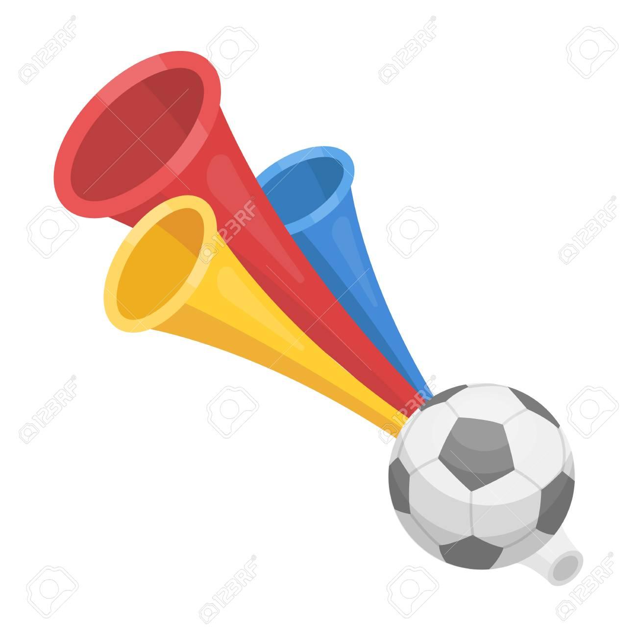 Trumpet football fan.Fans single icon in cartoon style vector symbol stock illustration. - 75968743