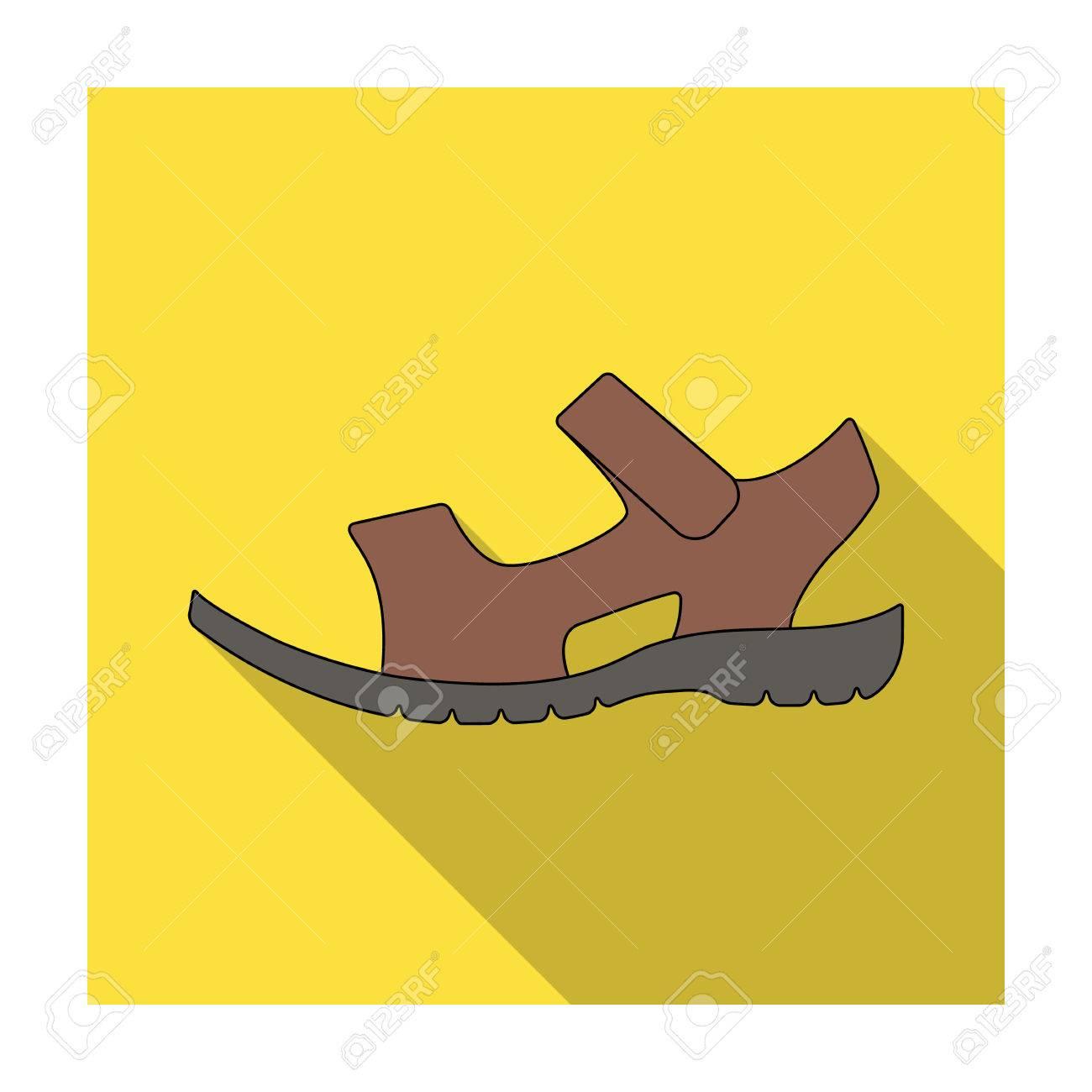 Männer Sommer braun Ledersandalen auf einem nackten Fuß. Unterschiedliche  Schuhe einzelnes Symbol in flachen Stil 8f860c06d0