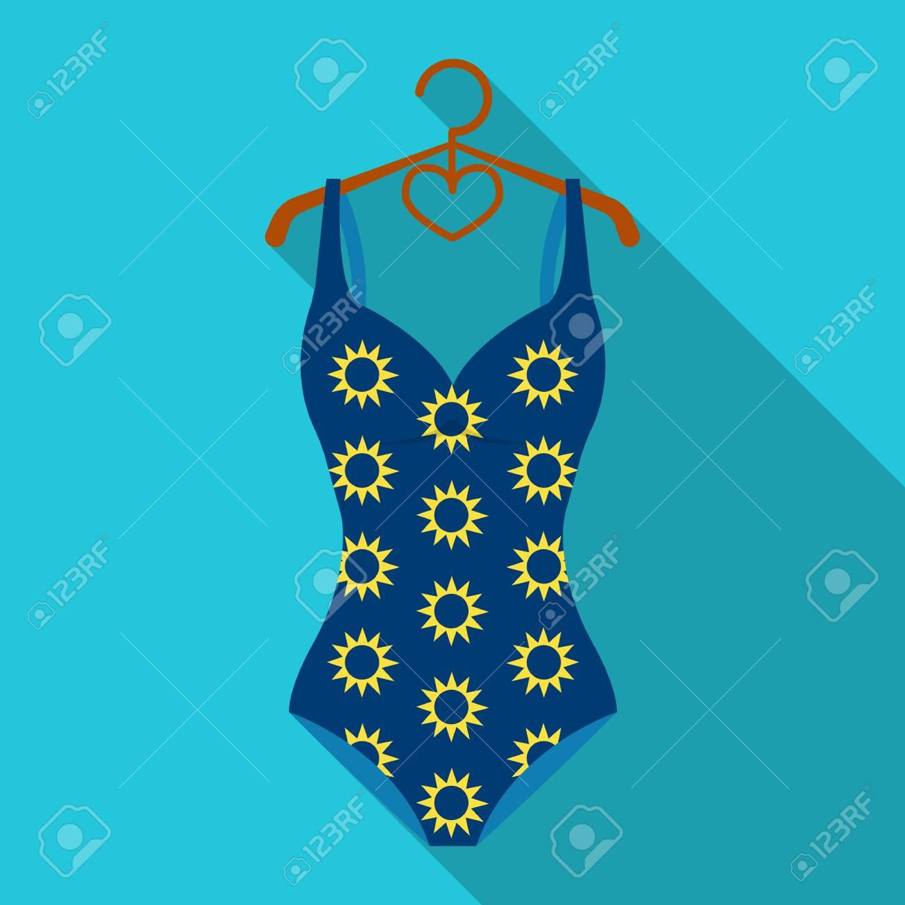 c748700b6bcf Traje de baño azul con girasoles. Traje de baño para nadar en la piscina.  Swimcuits solo icono en estilo plano vector símbolo stock de ilustración.
