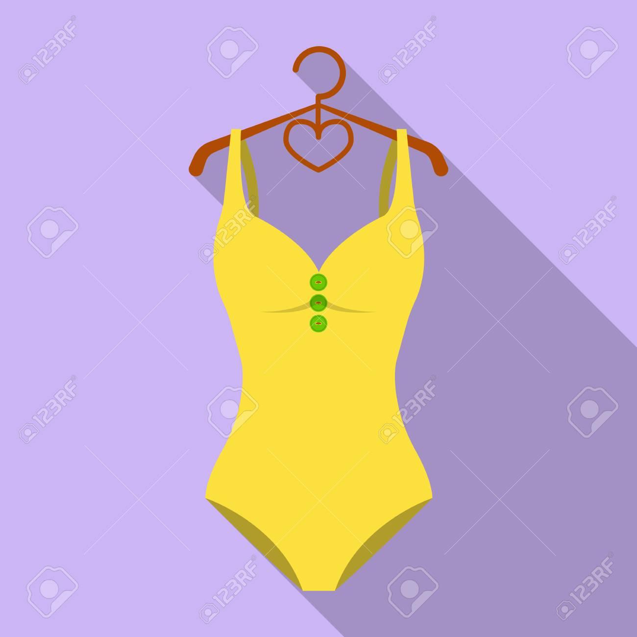 d9b65910e Bañador amarillo monótono para niñas. Ropa de baño en la piscina. Swimcuits  solo icono
