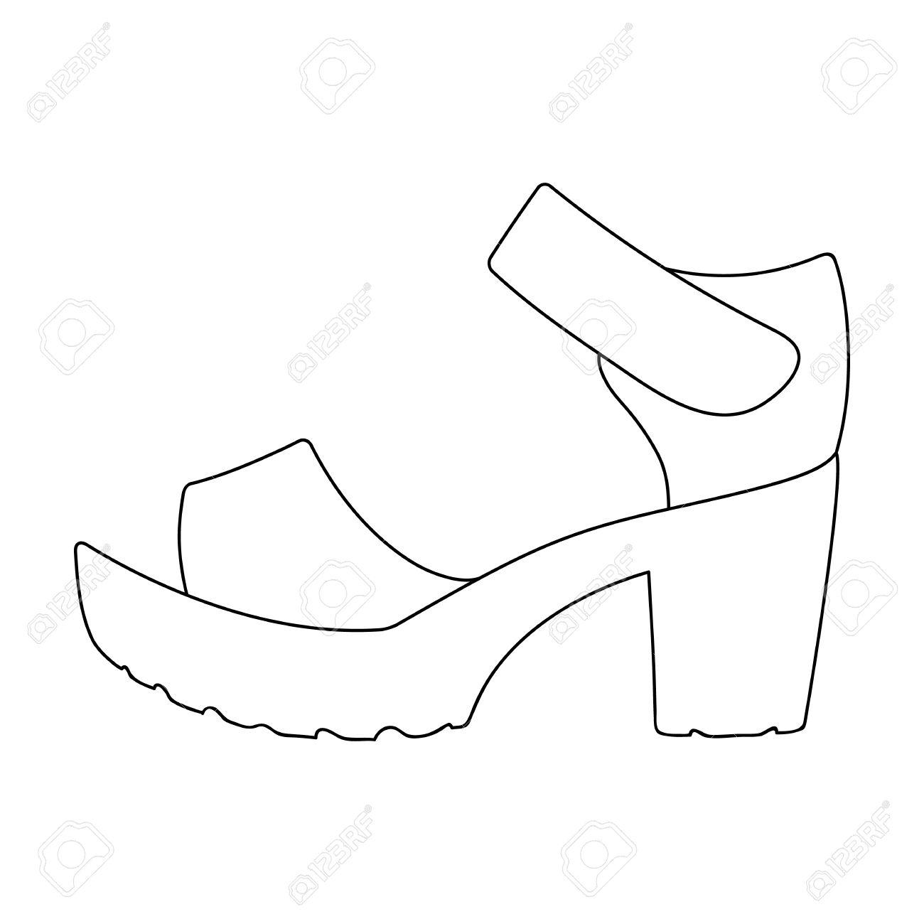 Frauen Sommer weißen Sandalen auf einem nackten Fuß.Different Schuhe  einzigen Symbol in Umriss Stil 299dce3ae4