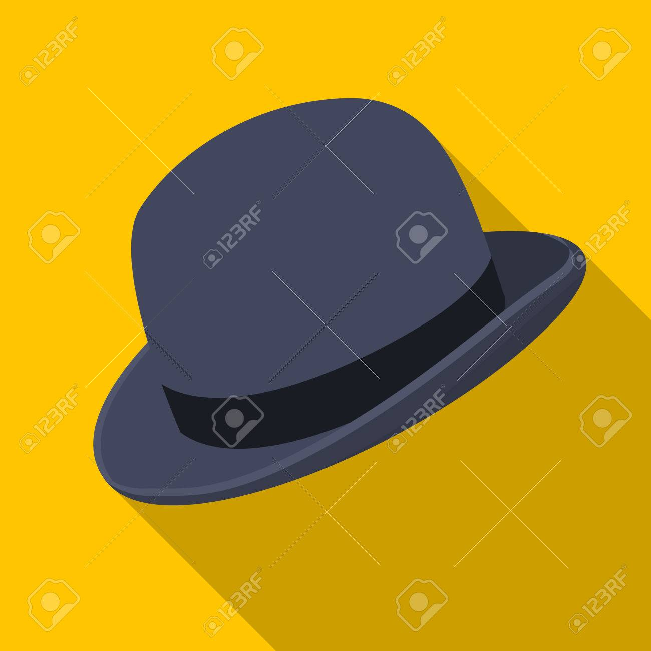 b789e57616d48 Bowler hat icon in flat style isolated on white background. Hipster style  symbol stock vector