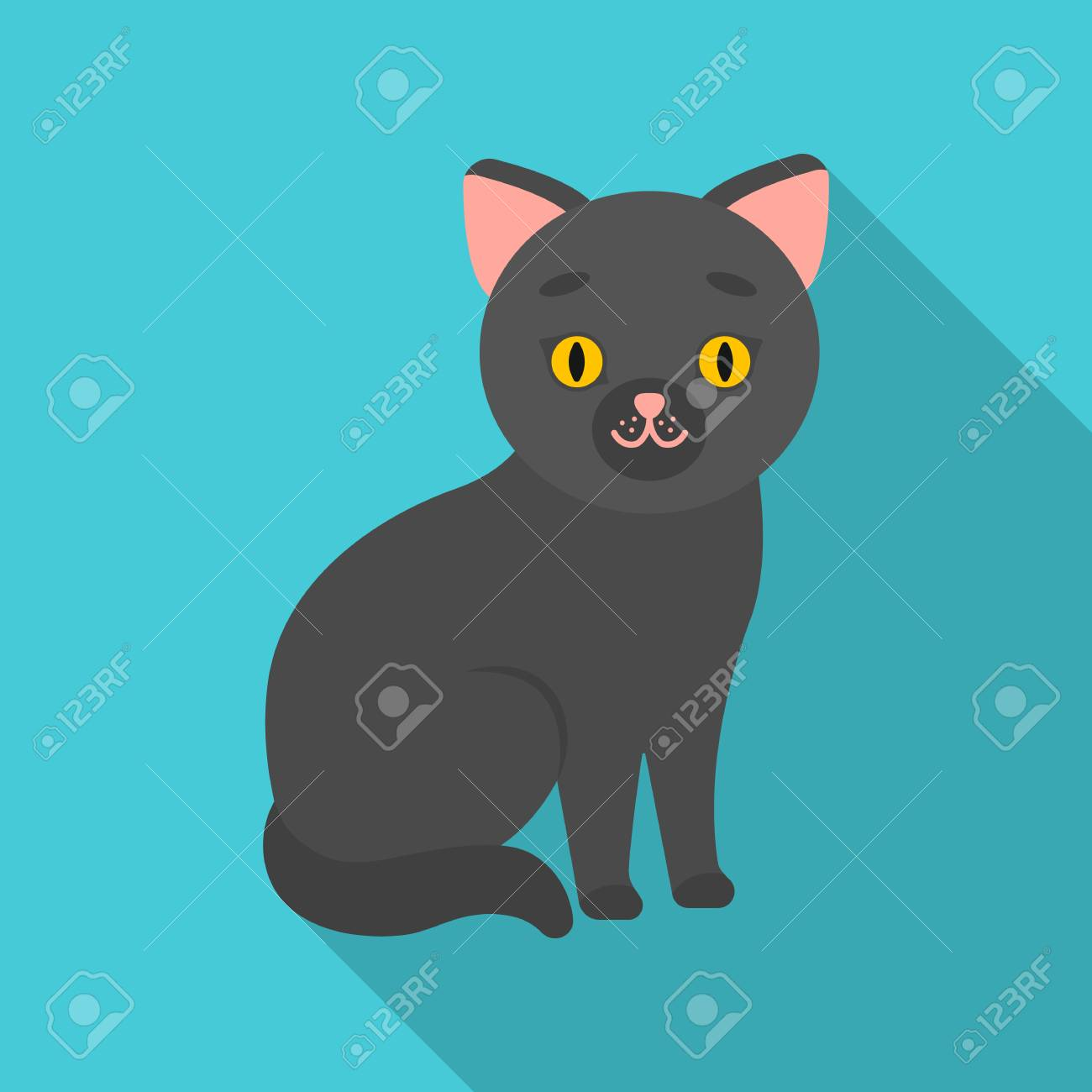 Cat Icon In Flate Style Isolated On White Background Cat Symbol