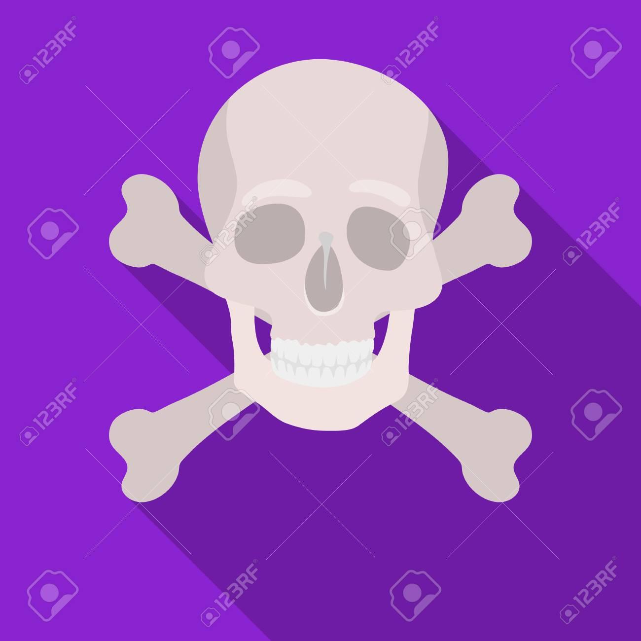 Immagini Di Teschio Pirati icona del teschio e ossa incrociate di pirata in stile piano isolato su  priorità bassa bianca. illustrazione di vettore di simbolo di pirati.
